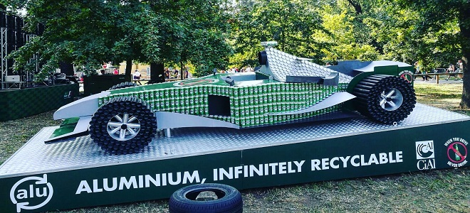 Formula 1 car from 1,200 Heineken beer cans